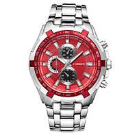 Мужские часы CURREN 8023 Silver & Red серебристо-красные