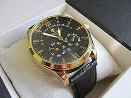 Мужские наручные часы Vacheron Constantin (Вашеро́н Константин), золото с чёрным циферблатом ( код: IBW033YB )