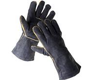 Перчатки кожаные с крагами Sandpiper на подкладке (черные), фото 1