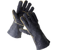 Перчатки кожаные с крагами Sandpiper на подкладке (черные)
