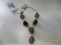 Ожерелье с натуральным камнем авантюрин Золотой песок и Ночь Каира в серебре.