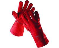 Перчатки кожаные с крагами Sandpiper на подкладке (красные), фото 1