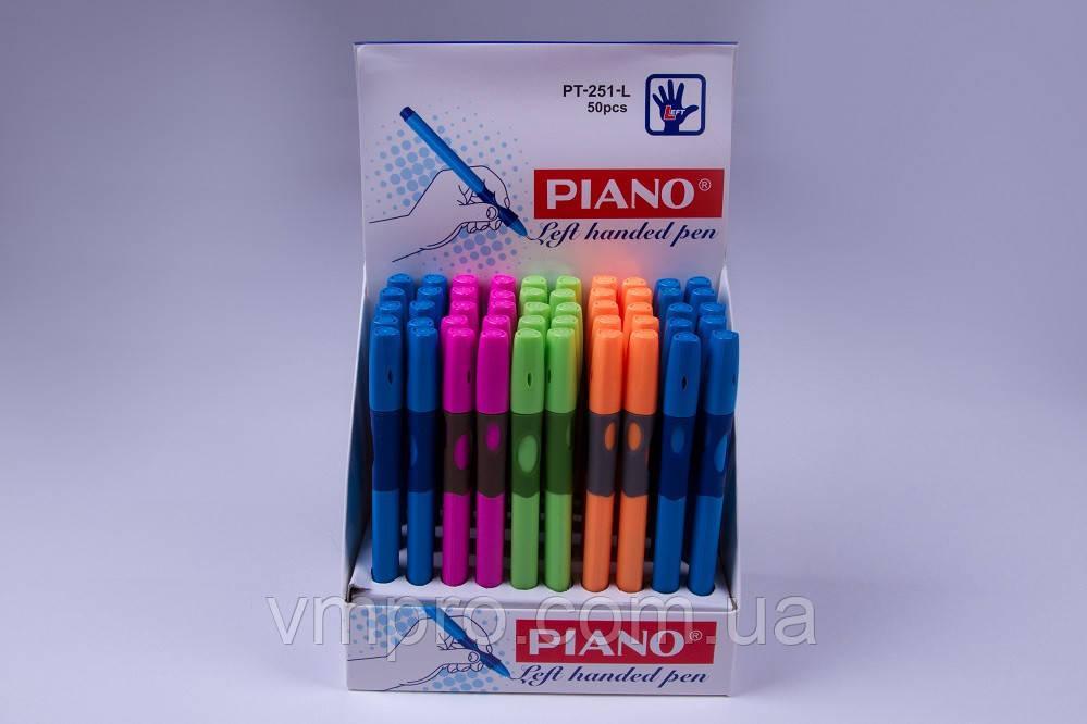Ручки кулькові PIANO №PT-251-L,для лівої руки,сині,масло,0.5 mm,50 шт/упаковка