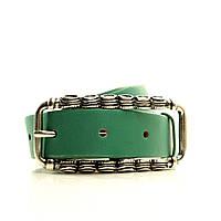 Ремень в коробке  G2550W4-B зеленый. (Celestina) Пряжка под старину, тертое серебро, Италия. Матовая кожа.