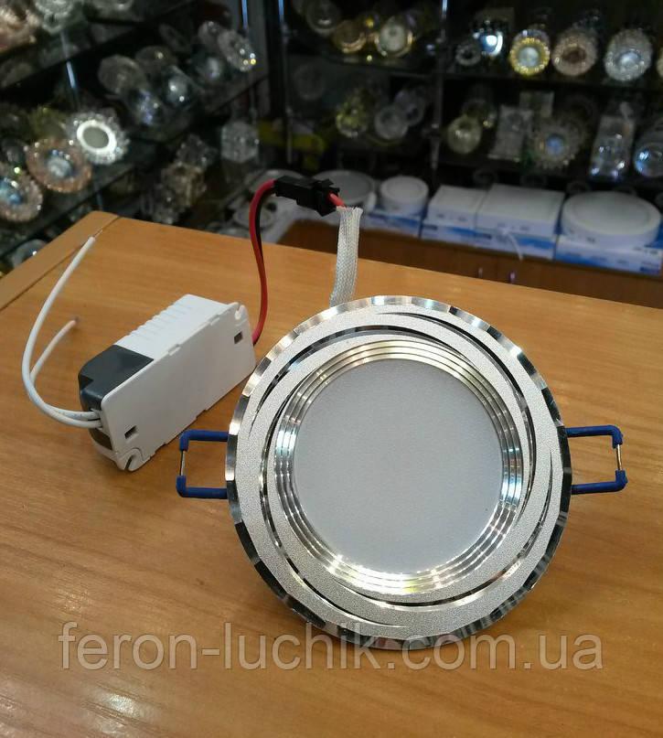 Светильник светодиодный Feron AL777 5W (серебро) встраиваемый точечный