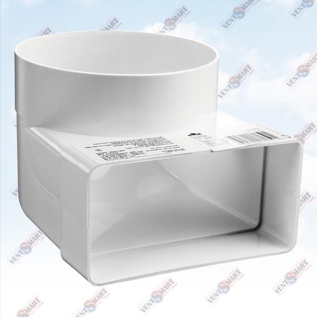 Внешний вид колена-переходника (отвода) 90 для плоских (прямоугольных) и круглых пластиковых вентиляционных каналов ПЛАСТИВЕНТ производства ВЕНТС (Украина)