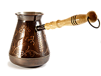 """Турка для кофе медная - 500мл -""""Лошади"""""""