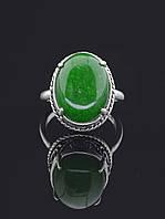 Кольцо с хризопразом. 029394 Кольцо 18 размера с натуральным камнем Хризопраз, 15х12 мм, овальная форма камня, в серебре