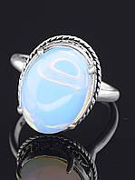 """Кольцо с лунным камнем. 029388 Кольцо 18 р. с камнем """"Лунный камень"""" (красивая имитация лунного камня), цвет голубой, овальная форма"""