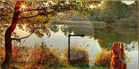 """Картина-часы (25х50 см) """"У реки"""""""