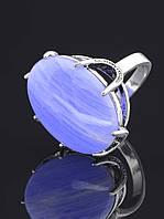 Кольцо с агатом. 029408 Кольцо 19 размера с натуральным камнем Голубой Агат, сапфирин (покрытие серебро), 8 лапок, латунь, 25х20 мм