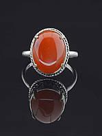 Кольцо с сердоликом. 029442 Кольцо 17 размера с натуральным камнем Сердолик (покрытие серебро), 15х12 мм, овальная форма