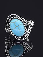 Кольцо с бирюзой. 029377 Кольцо 18 размера с натуральным камнем Бирюза, овальная форма, бирюзовый цвет, металл в серебре