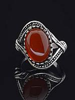 Кольцо с сердоликом. 029376 Кольцо 19 размера с натуральным камнем Сердолик, 25х10 мм, овальная форма