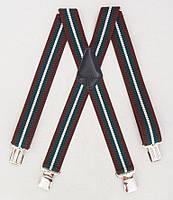 Широкие мужские подтяжки Paolo Udini коричнево-зеленые, фото 1