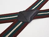 Широкие мужские подтяжки Paolo Udini коричнево-зеленые, фото 2