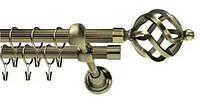 Карниз двойной ø 16+16 мм, 200 см, наконечник Ажур