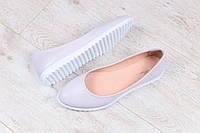 Кожаные женские туфли-балетки