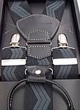 Черно-серые мужские подтяжки Paolo Udini подарочные, фото 3