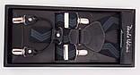 Черно-серые мужские подтяжки Paolo Udini подарочные, фото 4