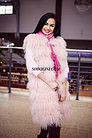 Жилет из меха ламы, нежно розового цвета, длина 90см, фото 1
