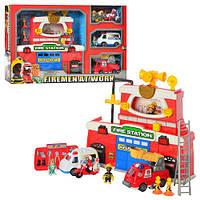 Игра 12636 пожарная станция, звук, свет, транспорт 3шт, фигурки 4шт, на бат-ке, в кор-ке, 63-39,5-11см