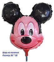 Шарик из фольги на палочке Микки Маус голова 38 х 26 см