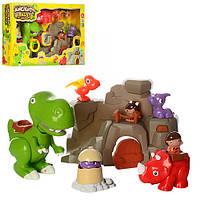 Набор игровой 13631динозавры 5шт, пещера, фигурки 2 шт, 6см, звук, на бат-ке, в кор-ке, 62-39-12см