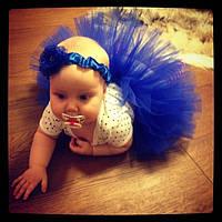 Юбка пачка для новорожденной девочки синяя