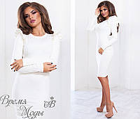 Белое нарядное трикотажное платье. 3 цвета.