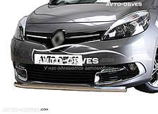 Защита переднего бампера Renault Scenic III одинарный ус (п.к. V001)