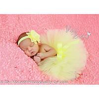 Юбка пачка для новорожденной девочки желтая
