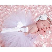 Юбка пачка для новорожденной девочки белая
