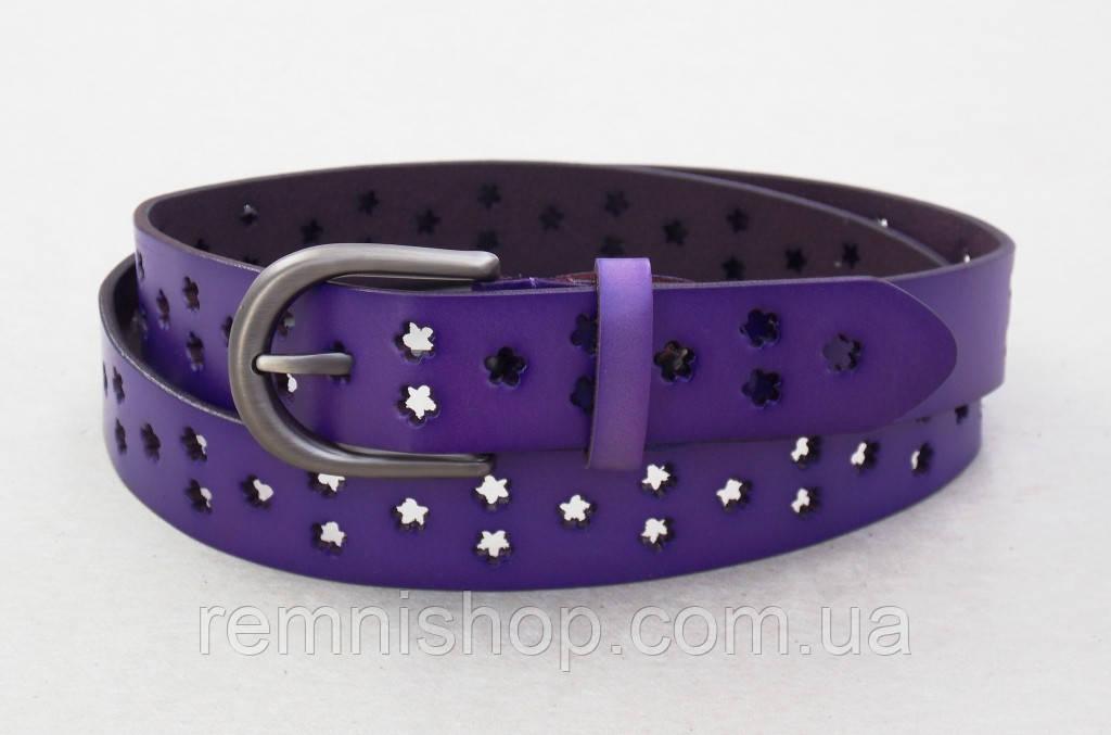 Ремень женский фиолетовый T.I.A. кожа