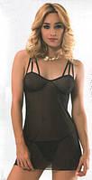 Пеньюар женский с трусиками черный 007
