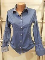 Рубашка женская в горошек Th 85 синего цвета XXL