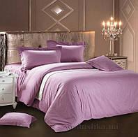 Постельное белье Love You страйп-сатин светло-фиолетове Семейный комплект