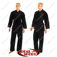 Кимоно для каратэ черное Matsa МА-0017 (хлопок, плотность 240г на м2)