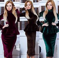 Бархатное платье в комплекте с баской 0465