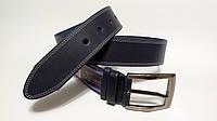 Джинсовый ремень 45 мм гладкий тёмно-синий с двойной белой ниткой пряжка матовая