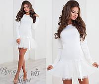 Белое трикотажное платье + фатин. 3 цвета.
