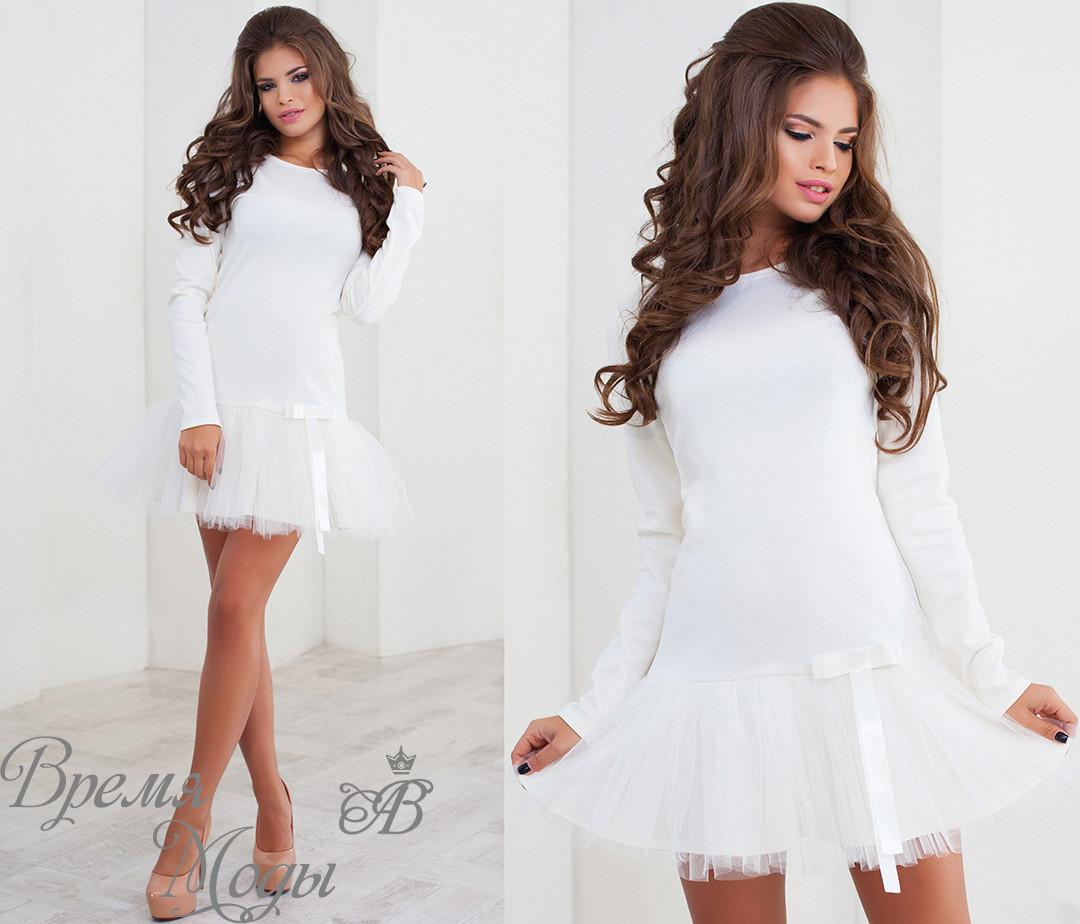 68a53683be7 Белое трикотажное платье + фатин. 3 цвета. - ВРЕМЯ МОДЫ в Одессе