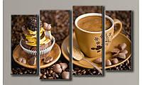 """Модульная картина на холсте """"Кофе с пироженным"""""""