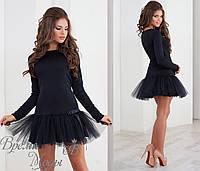 Чёрное трикотажное платье + фатин. 3 цвета.