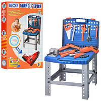 Детский набор инструментов 008-22 чемодан-верстак, дрель-вращ.сверло, на бат, 57дет, в кор,