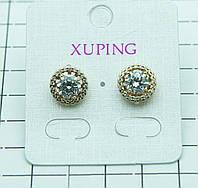 441. Позолоченные серьги XP с кристаллами. Серьги Xuping оптом.