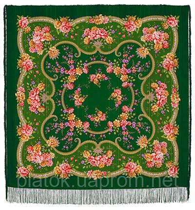 Пелагея 1544-9, павлопосадский платок шерстяной (с просновками) с шелковой бахромой