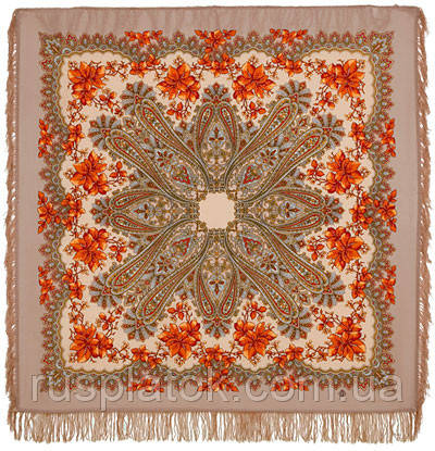 Багрянец осени 1545-1, павлопосадский платок шерстяной с шерстяной бахромой