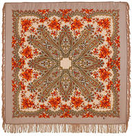 Багрянец осени 1545-1, павлопосадский платок шерстяной с шерстяной бахромой, фото 1