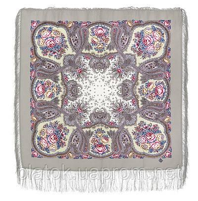 Сольвейг 1549-1, павлопосадский платок шерстяной  с шелковой бахромой